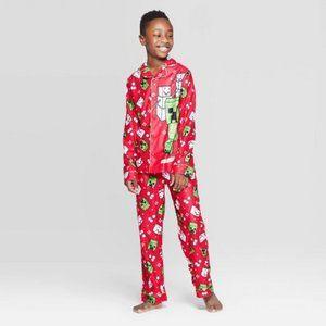 Minecraft Boys' 2pc Coat Pajama Set - Red NWT